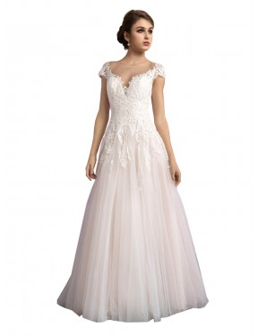 A-Line Illusion Cathedral Train Long Ivory & Champagne Tulle Mariana Wedding Dress Geelong