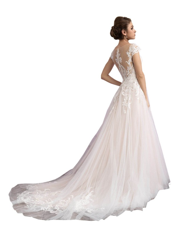 Shop A-Line Illusion Cathedral Train Long Ivory & Champagne Tulle Mariana Wedding Dress Geelong