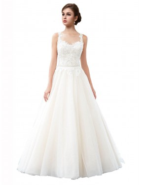 Shop A-Line Illusion Cathedral Train Long Ivory Tulle Raegan Wedding Dress Geelong