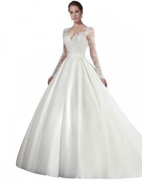 Shop A-Line Illusion Cathedral Train Long White Satin & Lace Stephanie Wedding Dress Geelong