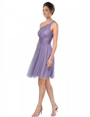 Shop A-Line One Shoulder Knee Length Short Watermelon Tulle Alessia Bridesmaid Dress Geelong