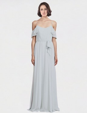 Shop A-Line Spaghetti Straps Off the Shoulder Floor Length Long Frost Chiffon Tiana Bridesmaid Dress Geelong