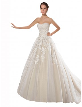 Shop A-Line Strapless Chapel Train Long Ivory & Champagne Tulle & Lace Lilliana Wedding Dress Geelong