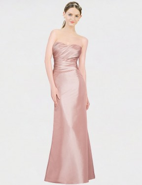 Shop A-Line Strapless Sweetheart Floor Length Long Pink Stretch Satin Whitney Bridesmaid Dress Geelong