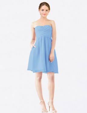 Shop A-Line StraplessSweetheart Knee Length Short Periwinkle Chiffon Avery Bridesmaid Dress Geelong