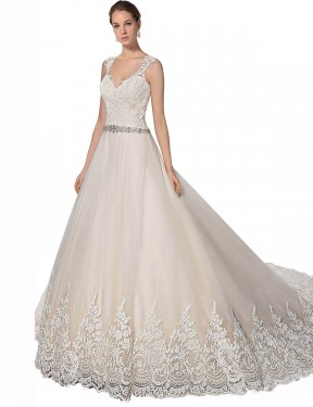 Shop A-Line Sweetheart Chapel Train Long Ivory & Champagne Tulle & Lace Ember Wedding Dress Geelong