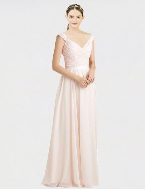Shop A-Line Sweetheart Floor Length Long Cream Pink Chiffon & Lace Arely Bridesmaid Dress Geelong