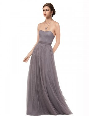 Shop A-Line Sweetheart Strapless Floor Length Long Pewter Tulle Emmy Bridesmaid Dress Geelong