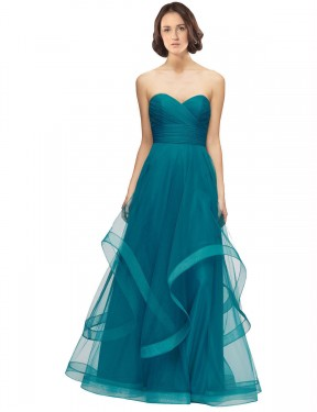 Shop A-Line Sweetheart Strapless Floor Length Long Turquoise Tulle Lacey Bridesmaid Dress Geelong