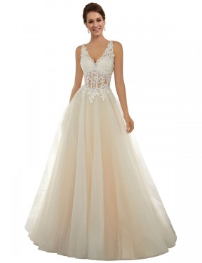 Shop A-Line V-Neck Chapel Train Long Ivory & Champagne Lace & Tulle Amy Wedding Dress Geelong