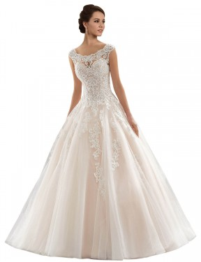 Shop Ball Gown Bateau Chapel Train Long Ivory & Champagne Lace & Tulle Laila Wedding Dress Geelong