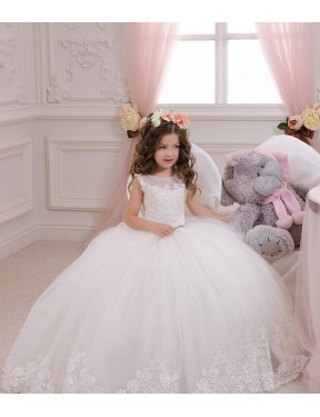 Ball Gown Bateau Chapel Train Long Ivory Lace & Tulle Flower Girl Dress Geelong