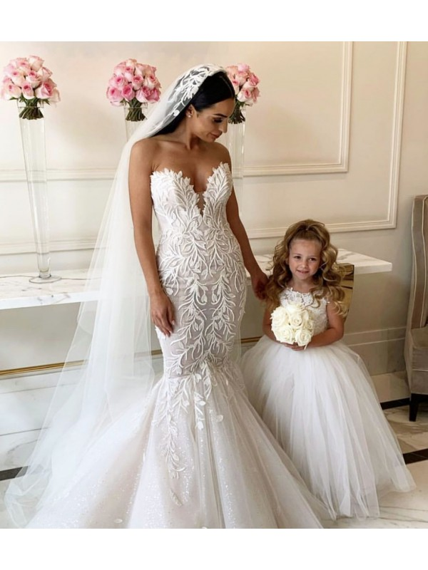 Shop Ball Gown Chapel Train Long Ivory Lace & Tulle Flower Girl Dress Geelong