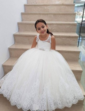 Shop Ball Gown Floor Length Long Ivory Lace & Tulle Flower Girl Dress Geelong