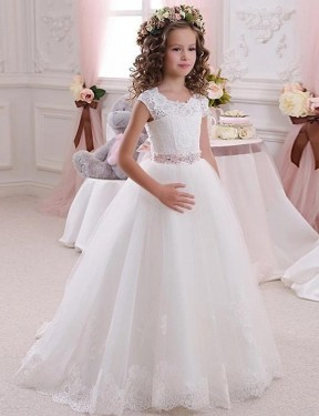 Shop Ball Gown High Neck Floor Length Long Ivory Lace & Tulle Flower Girl Dress Geelong