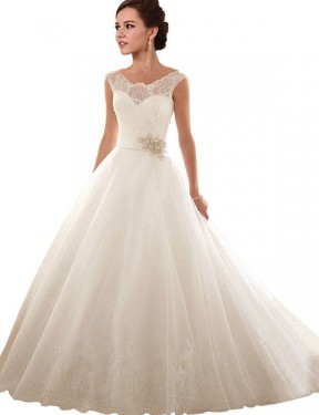 Shop Ball Gown Off the Shoulder Chapel Train Long White Lace & Tulle Arabella Wedding Dress Geelong