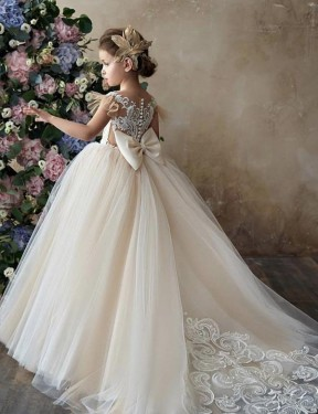 Shop Ball Gown Sweetheart Chapel Train Long Champagne Lace & Tulle Flower Girl Dress Geelong