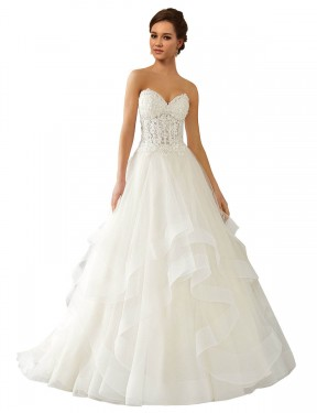 Shop Ball Gown Sweetheart Chapel Train Long Ivory Lace & Satin & Tulle Reese Wedding Dress Geelong