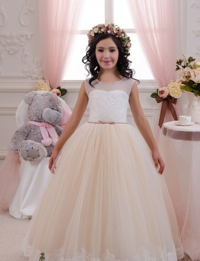Shop Ball Gown Sweetheart Floor Length Long Ivory & Champagne Lace & Tulle Flower Girl Dress Geelong
