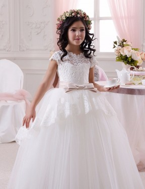 Shop Ball Gown Sweetheart Floor Length Long Ivory Lace & Tulle Flower Girl Dress Geelong