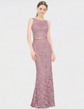Shop Mermaid Fit and Flare Illusion Neckline Floor Length Long Pink Lace Calliope Bridesmaid Dress Geelong