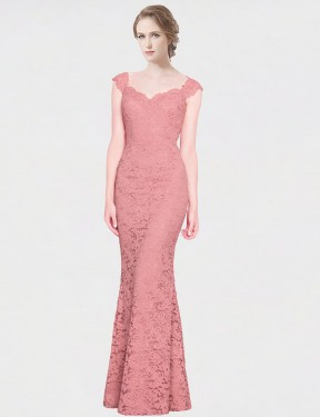 Shop Mermaid Fit and Flare Strapless Sweetheart Floor Length Long Pink Lace Paola Bridesmaid Dress Geelong