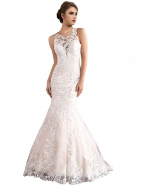 Shop Mermaid Illusion Cathedral Train Long Ivory & Champagne Tulle Amiyah Wedding Dress Geelong
