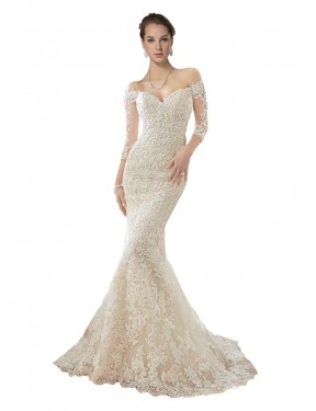 Mermaid Off the Shoulder Chapel Train Long Ivory & Champagne Lace & Tulle Blake Wedding Dress Geelong
