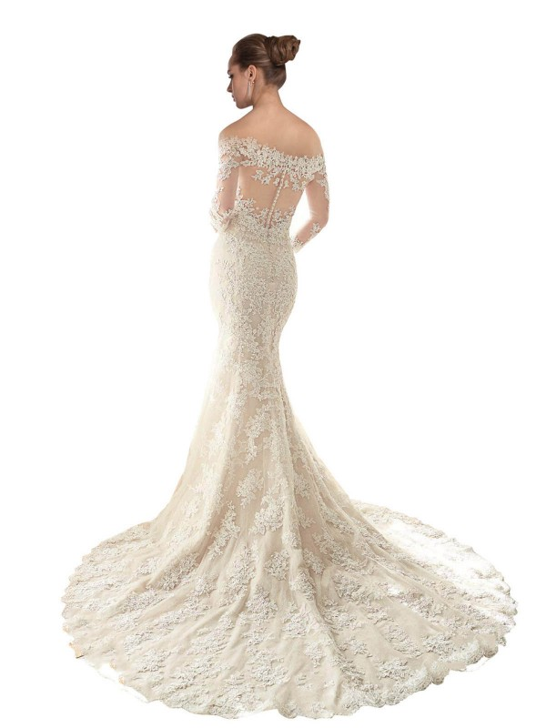 Shop Mermaid Off the Shoulder Chapel Train Long Ivory & Champagne Lace & Tulle Blake Wedding Dress Geelong