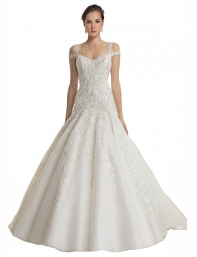 Shop Mermaid Off the Shoulder Sweep Train Long Ivory Lace & Tulle Miriam Wedding Dress Geelong