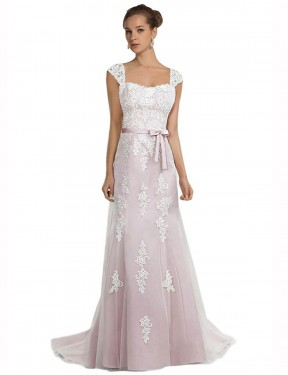 Shop Mermaid Strapless Sweep Train Long Ivory & Pink Tulle & Lace Logan Wedding Dress Geelong