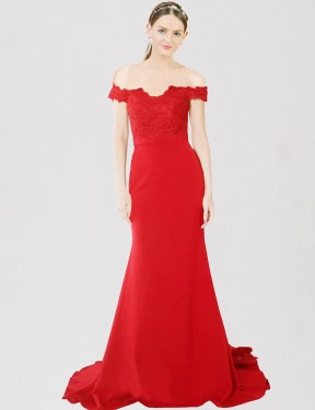 Shop Mermaid Sweetheart Off the Shoulder Sweep Train Floor Length Long Red Stretch Crepe & Lace Dawn Bridesmaid Dress Geelong