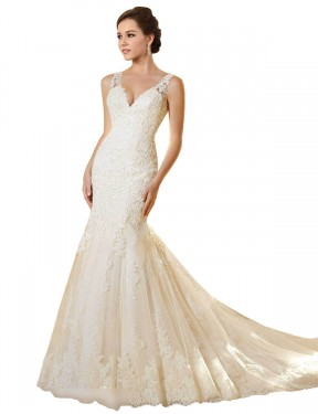Shop Mermaid V-Neck Chapel Train Long Ivory & Champagne Lace & Tulle Emerson Wedding Dress Geelong
