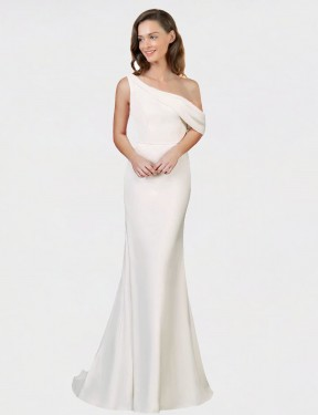 Shop Sheath One Shoulder Sweep Train Long Ivory Stretch Crepe Cantrell Bridesmaid Dress Geelong